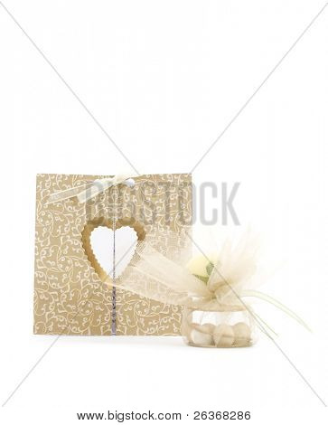 wedding invitation and small present