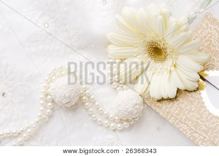 textile wedding background, card pearls and flower