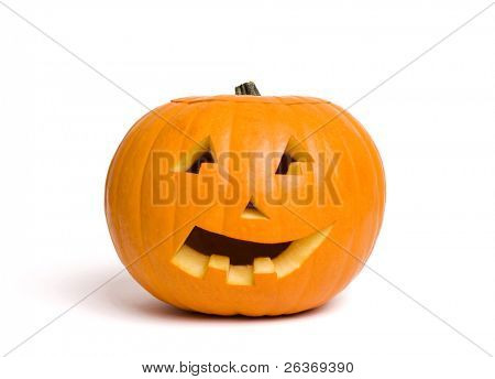 jack-o-lantern pumpkin isolated on white