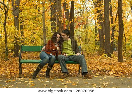 couple embracing on a bench in a park in autumn