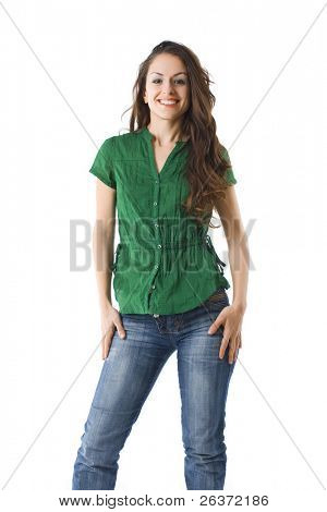 portrait of happy fresh young woman laughing