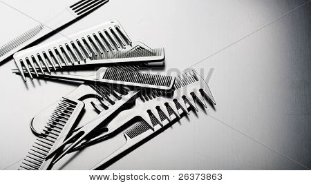 set of combs isolated on black, hairstyle accessories
