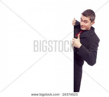 happy businessman pointing to white blank card