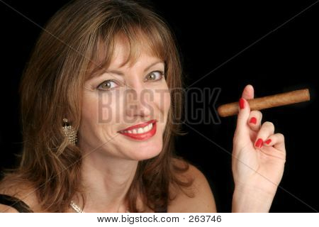 Cute Woman Smoking Cigar