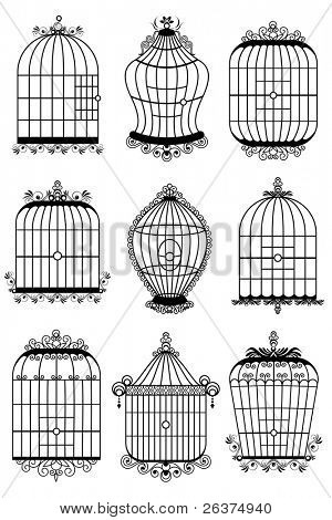 illustration of set of different style bird cage