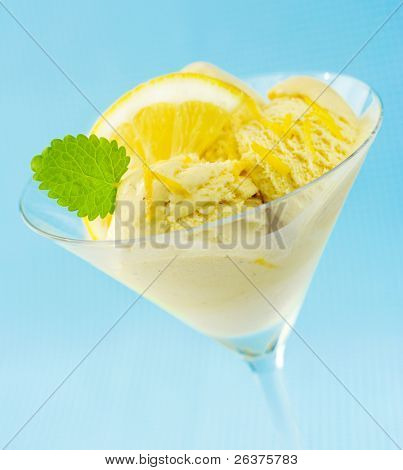 Lemon and mint on ice-cream