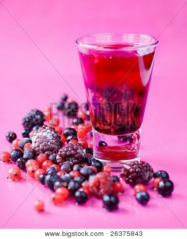 mixed berries and berry juice