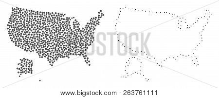 Dotted And Contour Map Of Usa And Alaska Created With Dots ...
