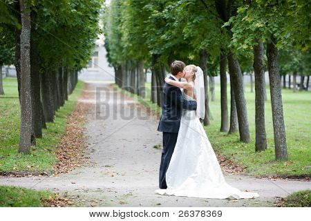the newly married couple kissing  at alley in park