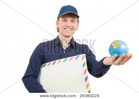 photo of man holding a big envelope and a small globe