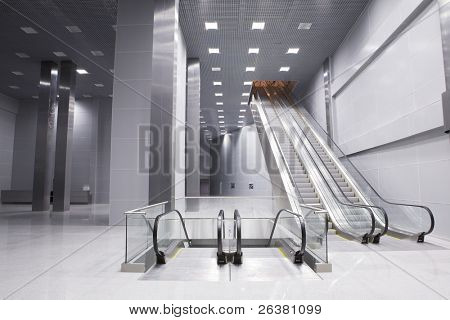 Elevators in hall of  modern business building