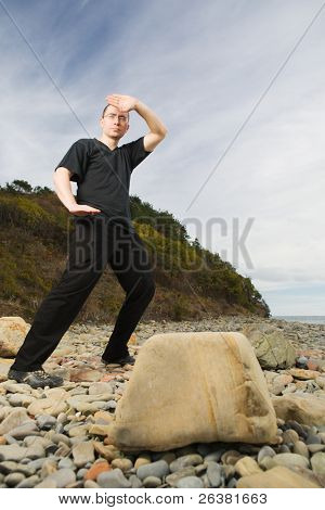 Man practicing martial art at beach