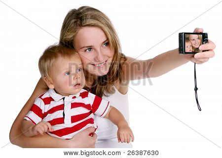 young mother with kid taking photo