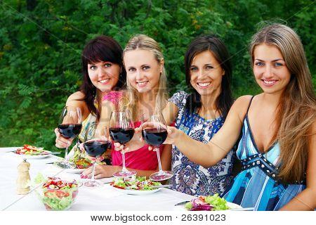 group of beautiful womens drinking wine in the park