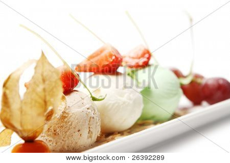 Delicious Ice Cream with fruits