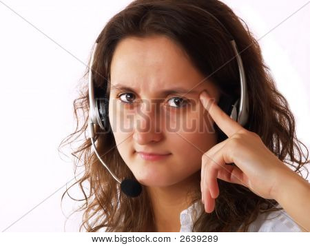 Upset Woman Wearing A Headset