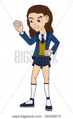 Schulmädchen in uniform cartoon