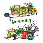 Gardening Banner. Garden Tools, Potted Flowers And Fertilizer In Sketch Style. Vector Illustration. poster