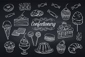 Hand Drawn Set Confectionery And Sweets Icons On Chalkboard. Dessert, Lollipop, Ice Cream With Candi poster