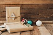 Christmas Handmade Present With Tag For Merry Christmas And New Year Holiday. Rustic Craft Gift Boxe poster