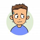 Young Sweating Man Looking Sideways. Flat Design Icon. Flat Vector Illustration. Isolated On White B poster