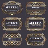 Art Deco Frame. Antique Golden Label, Luxury Gold Business Card Letter Title And Vintage Ornaments F poster
