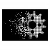 Cogwheel Icon With Disappearing Effect On Black Background. White Pieces Are Arranged Into Vector Di poster