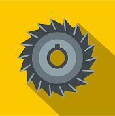 Circular Saw Disk Icon. Flat Illustration Of Circular Saw Disk Icon For Web On Yellow Background poster