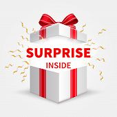 Gift Box With Ribbon. Opening White Box. Birthday Surprise And Christmas Present Vector Concept. Ill poster