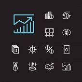 Investment Icons Set. Mutual Funds And Investment Icons With Money Transfer, Petroleum And Investmen poster