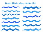 Mottled Brush Stroke Waves Vector Set. Hand Drawn Cyan Blue Brushstrokes, Ink Splashes, Watercolor S poster