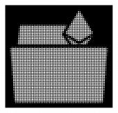 Halftone Dotted Ethereum Crystal Folder Icon. White Pictogram With Dotted Geometric Structure On A B poster