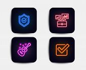 Neon Glow Lights. Set Of Business Portfolio, Approved Shield And Guitar Icons. Checkbox Sign. Job In poster
