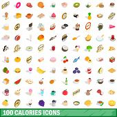100 Calories Icons Set In Isometric 3d Style For Any Design Illustration poster
