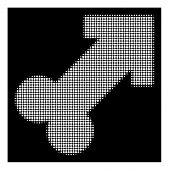 Halftone Pixelated Male Sexual Symbol Icon. White Pictogram With Pixelated Geometric Structure On A  poster