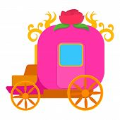 Pink Brougham, For Little Princess Icon. Cartoon Illustration Of Pink Brougham, For Little Princess  poster
