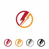Flat Round Thunder For Web Or App Symbol With Different Color. Electric Danger Light Power Voltage F poster