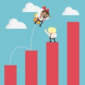 Businessman On Rocket Soaring From Graph Of Success poster