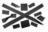 Set Of Black Tapes On White Background. Torn Horizontal And Different Size Black Sticky Tape, Adhesi poster