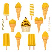 Vector Illustration For Natural Papaya Ice Cream On Stick, In Paper Bowls, Wafer Cones. Ice Cream Co poster