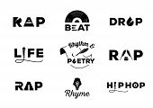 Hip Hop Element With Word Design About Rap,rhyme,rhythm,life,poetry,beat,drop Vector Illustration poster