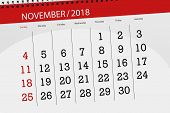 Calendar Planner For The Month, Deadline Day Of Week 2018 November poster