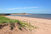 A long stretch of Dalvay Beach in Cavendish National Park, Prince Edward Island, Canada. poster