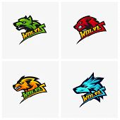 Set Of Modern Professional Wolf Logo For A Sport Team. Wolf Logo Vector Illustration. poster