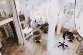 Fashion Workplace. View From Above Beauty Salon. Fashion Salon. Luxury Design. White Interior In Spa poster