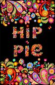 Colorful hippie flowers lettering print and floral border for summery t shirt design on black backgr poster