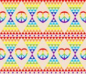 Vintage hippie seamless background with rainbow, hippie symbol, psychedelic abstract triangle colorf poster