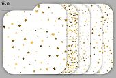 Set Of Gold Stars. Confetti Celebration, Falling Golden Abstract poster
