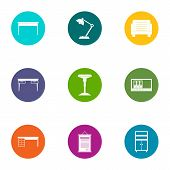 Desktop Icons Set. Flat Set Of 9 Desktop Vector Icons For Web Isolated On White Background poster