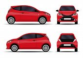 Realistic Car. Hatchback. Front View, Side View, Back View. poster